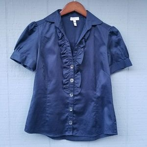 Joie Button Front Short Sleeve Navy Blouse Ruffle
